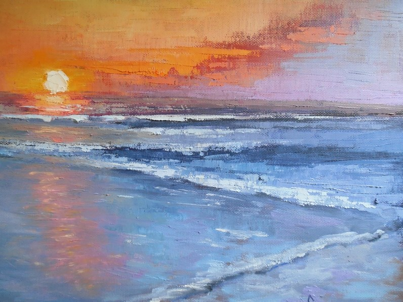 """Sunset and Sea Painting, Small Seascape, Daily Painting, Small Oil Painting, Sun Falls to the Sea"" original fine art by Carol Schiff"