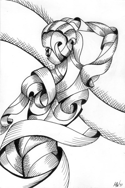 """Mark Webster - Jenni 38-01 - Abstract Nude Figurative Pen and Ink Drawing"" original fine art by Mark Webster"