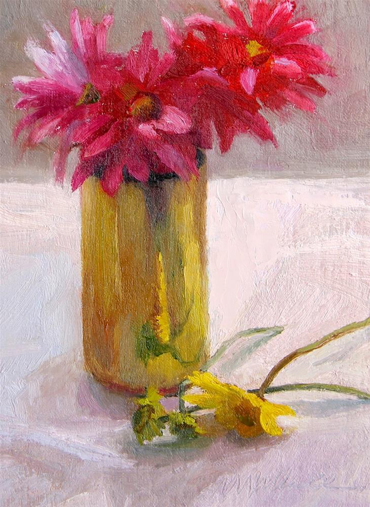 """#24 Flowers on a cloudy day"" original fine art by Nancy Wallace"