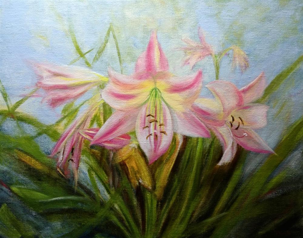 """""""Pink Lilies"""" original fine art by Dalan Wells"""