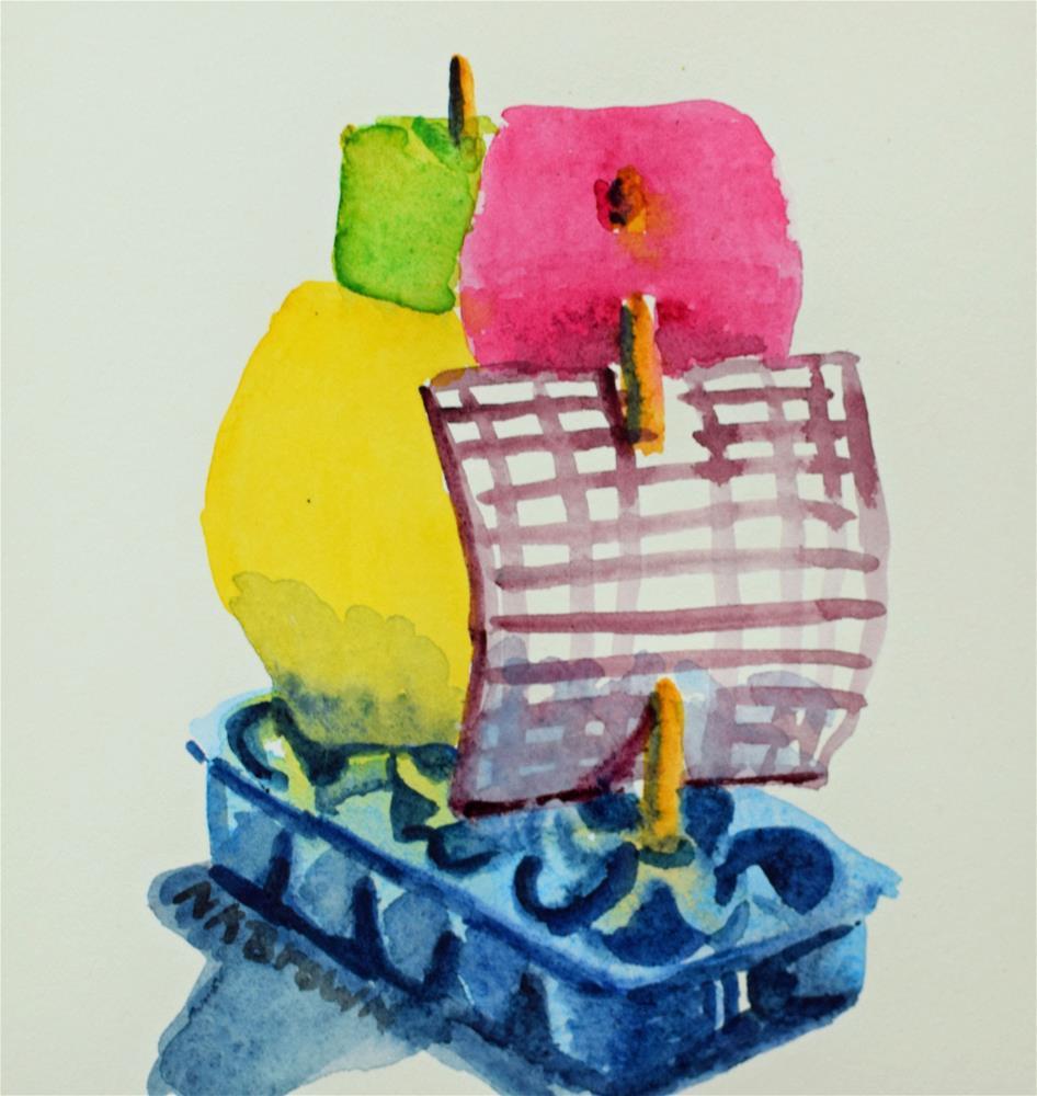 """""""Landon's Pirate Ship"""" original fine art by Nancy Brown"""