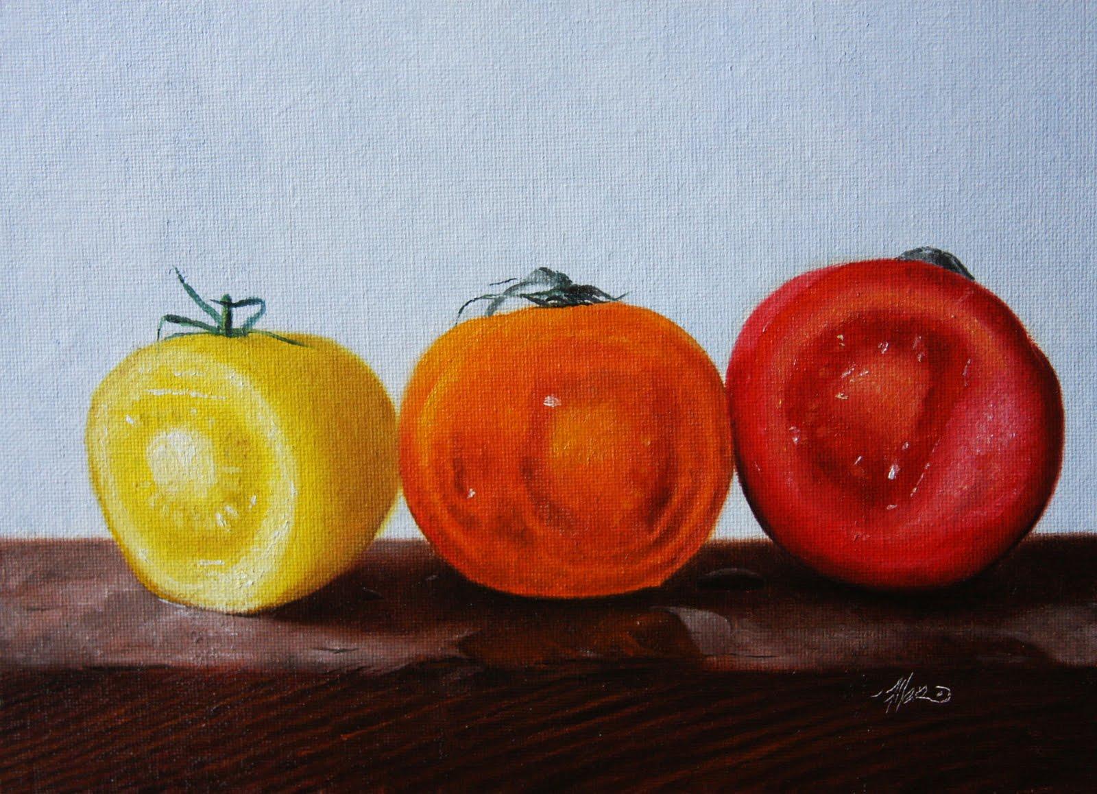 """""""Sliced Tomatoes"""" original fine art by Jonathan Aller"""