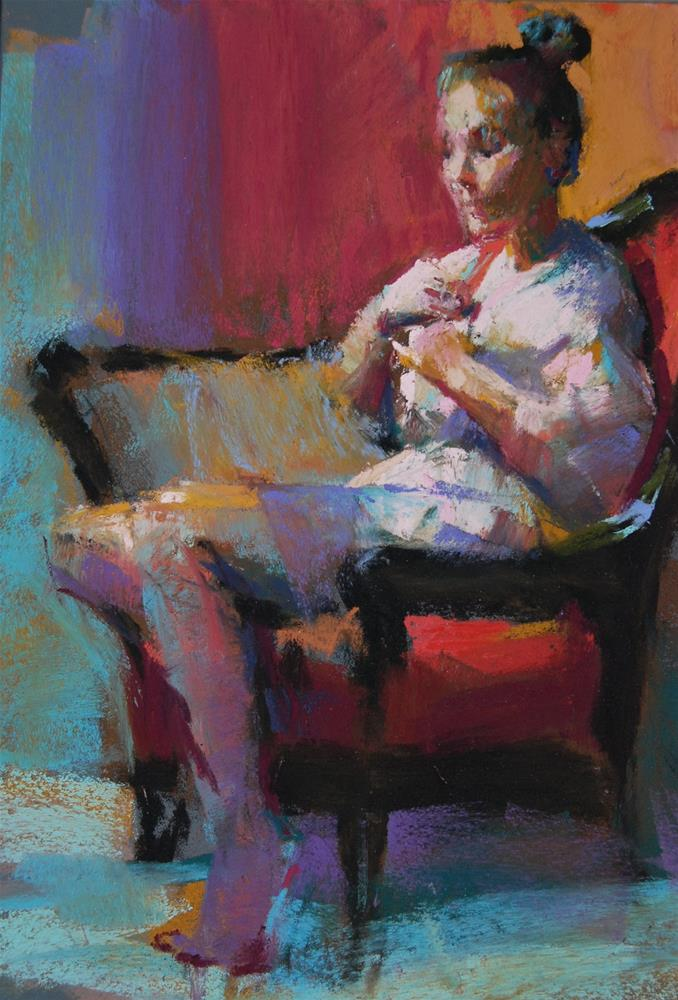 """Model in a Pink Robe"" original fine art by Margaret Dyer"