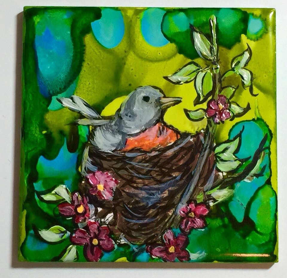 """Bird nest on tile"" original fine art by Barbara Beckmann"