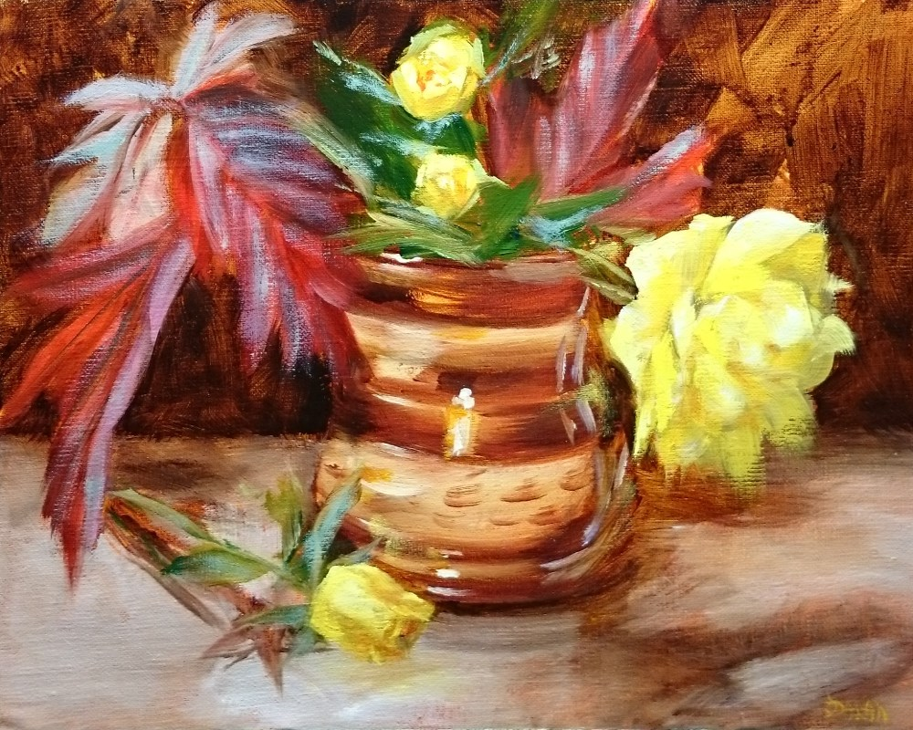 """Copper Pot Roses And Hydrangea Leaves"" original fine art by Dalan Wells"
