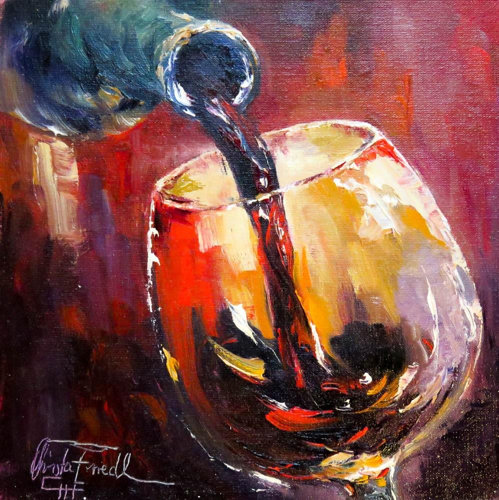 """Wine Tasting I"" original fine art by Christa Friedl"