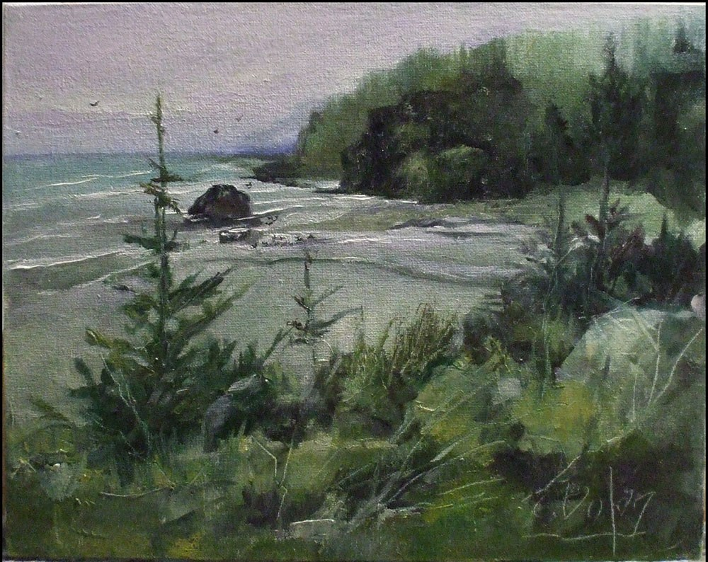 """Clear Morning at Gold Beach"" original fine art by Cheryl Williams Dolan"