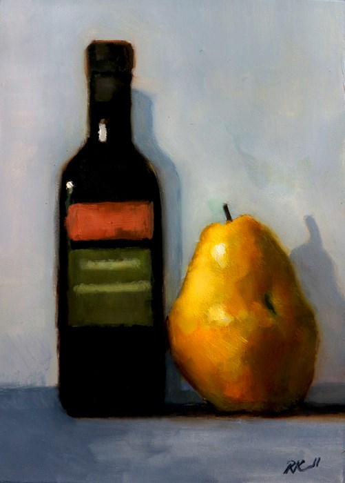 """Olive Oil and a Pear"" original fine art by Bob Kimball"