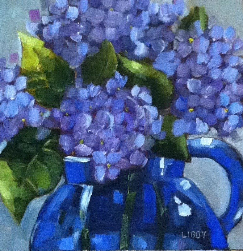 """Cobalt Pitcher"" original fine art by Libby Anderson"