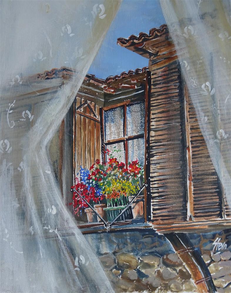 """Through the Lace Curtains"" original fine art by Martin Stephenson"