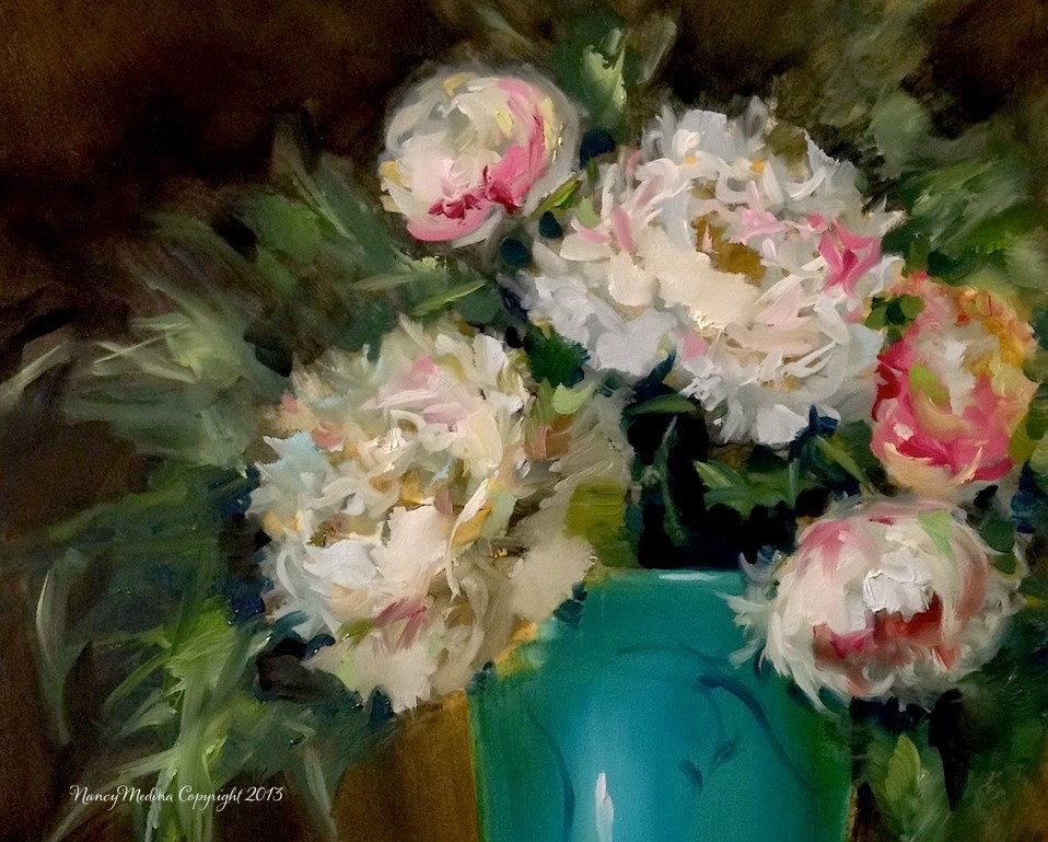 """Winter Peonies"" original fine art by Nancy Medina"