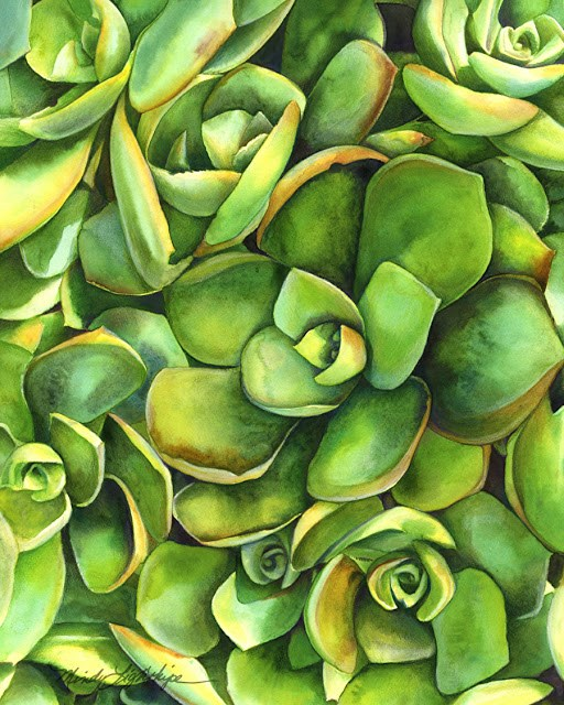 """Botanical Fine Art Painting, GREEN CHICKS AND HENS The Art of Nature, Fine Art by Mindy Lighthipe"" original fine art by Mindy Lighthipe"