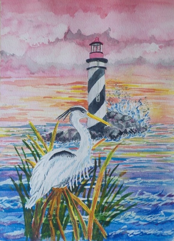 """Lighthouse Heron   #219"" original fine art by Jim Whiteside"