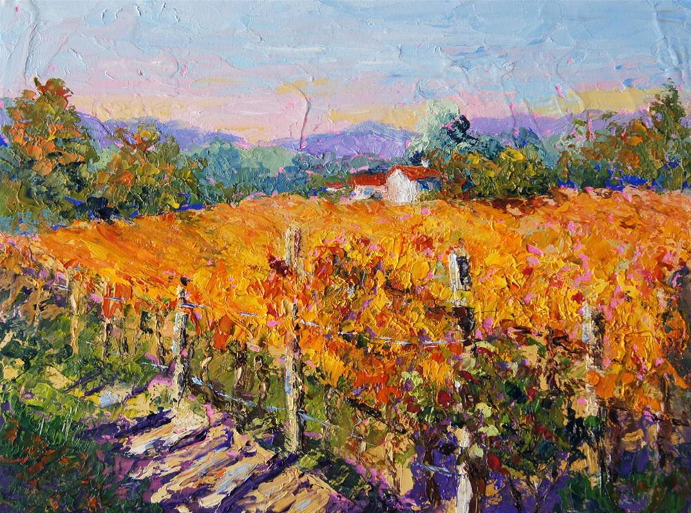 """Afternoon Light Provence Vineyard"" original fine art by Marion Hedger"