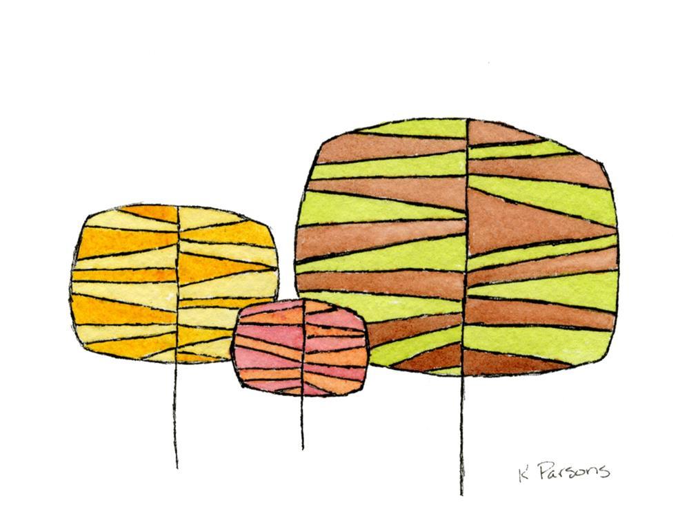 """""""1970s Retro Copse of Trees"""" original fine art by Kali Parsons"""