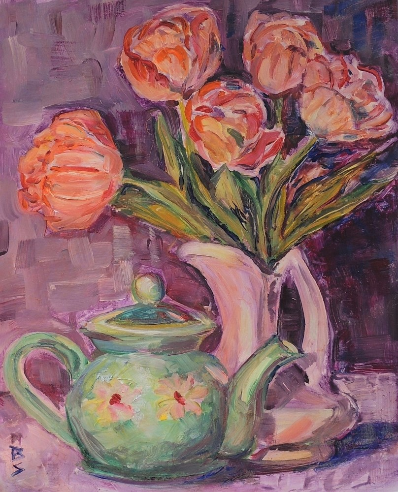 """Tea and Tulips"" original fine art by Mary Schiros"