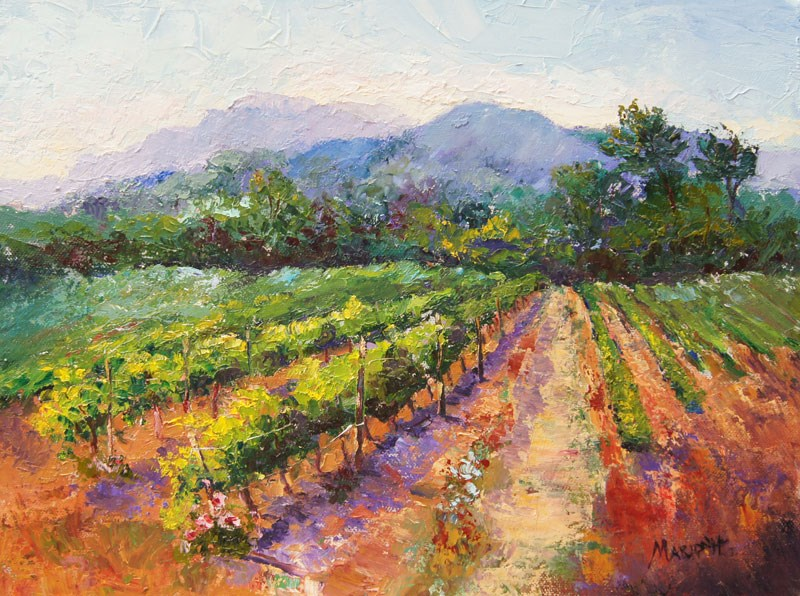 """Spring Vineyard Provence oil painting"" original fine art by Marion Hedger"