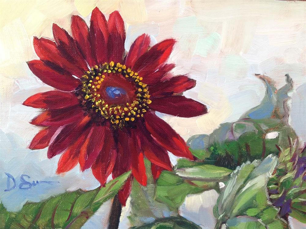"""Dina's Sunflower #4"" original fine art by Deborah Savo"