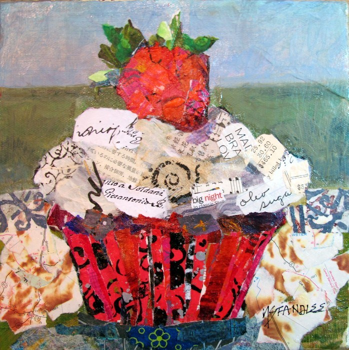 """Cupcake Torn Paper Collage, Big Night 12083 SOLD"" original fine art by Nancy Standlee"