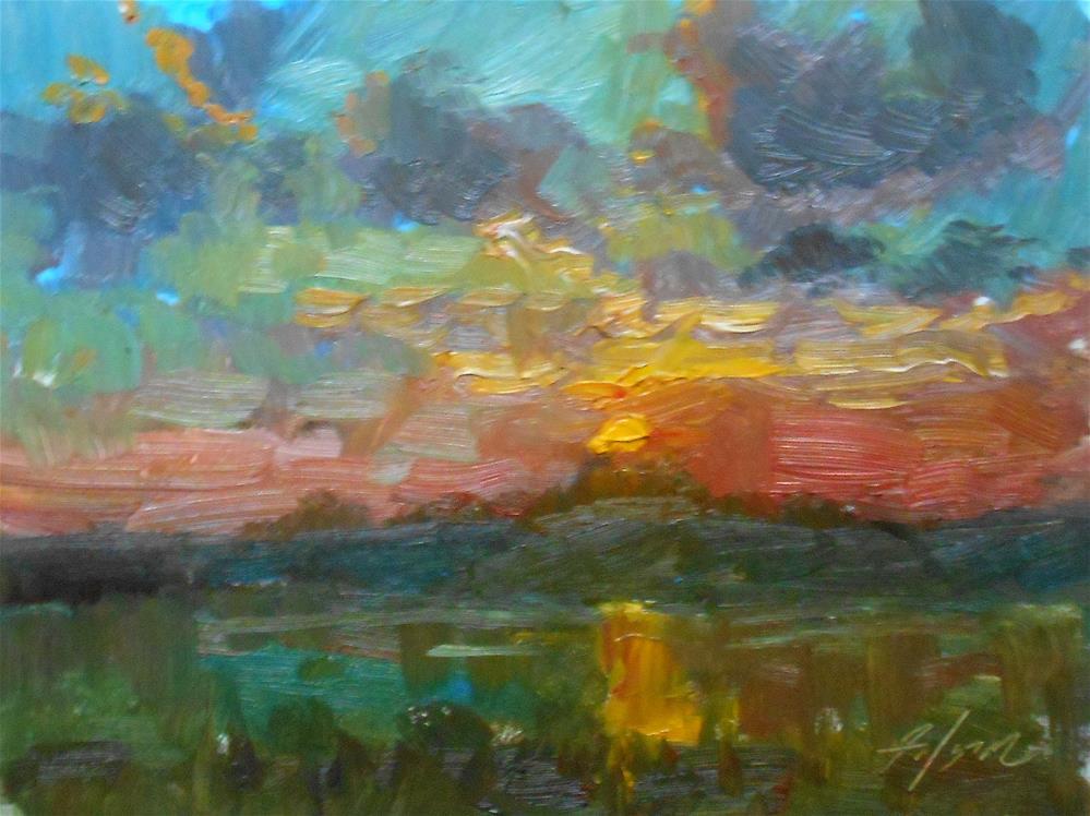 """Sunset by the Pond"" original fine art by Kelli Folsom"