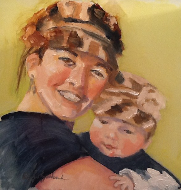 """""""Beth and Brie  6x6 oil"""" original fine art by Christine Holzschuh"""