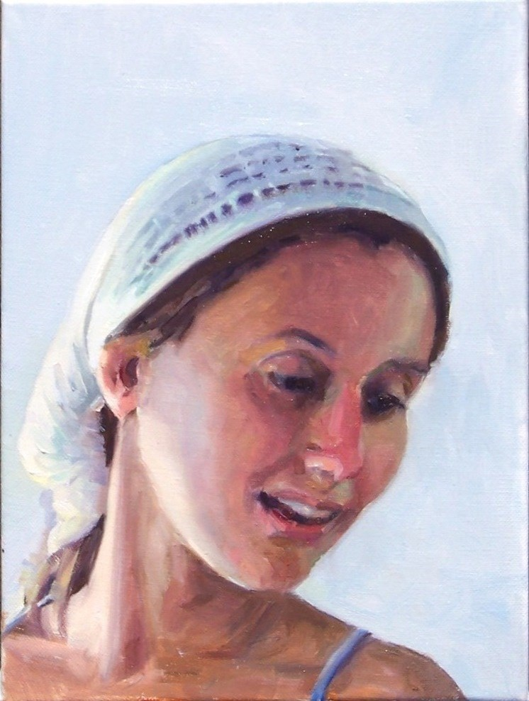"""Vanessa in the Sun,portrait,oil on canvas,12x9,price$995"" original fine art by Joy Olney"