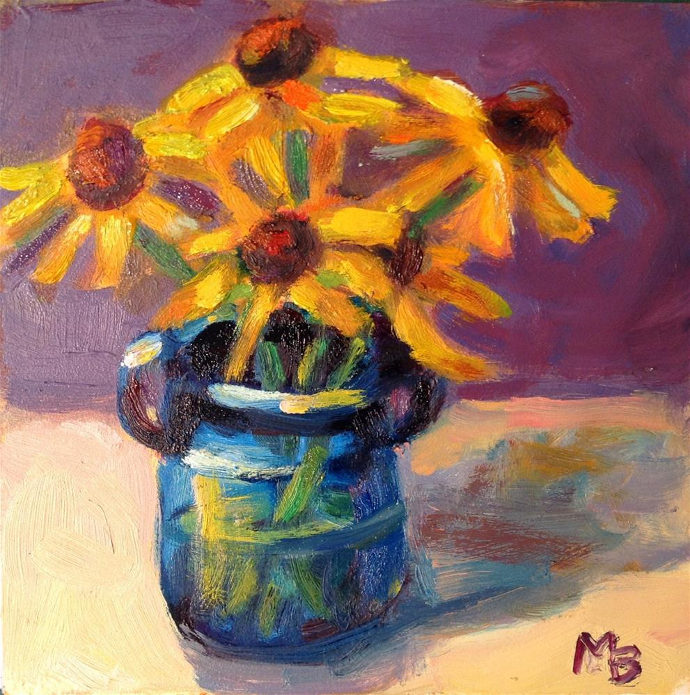 """Flowers In Blue Vase"" original fine art by Marcia Bergtholdt"