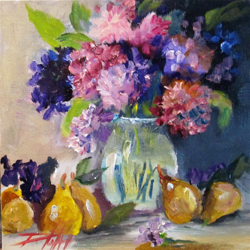 """""""Flowers and Pears"""" original fine art by Delilah Smith"""