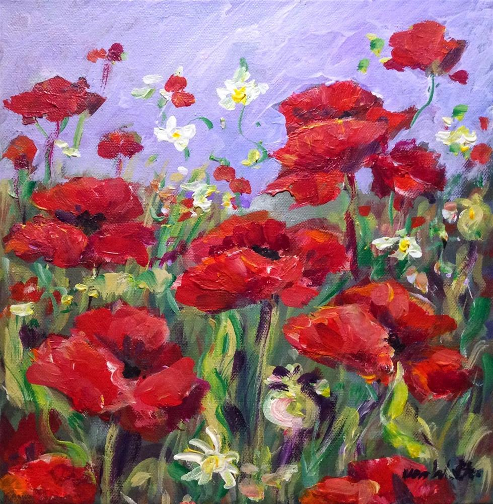 """Poppies wild flowers painting"" original fine art by Sonia von Walter"