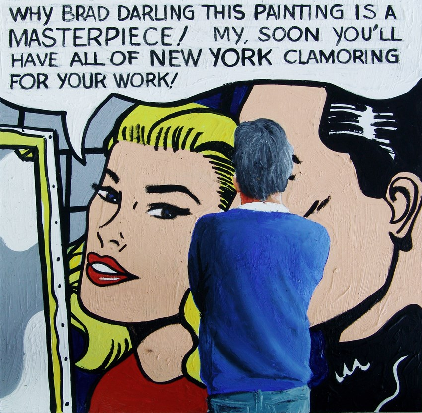 """""""Masterpiece- Self Portrait Of Me Enjoying Painting Masterpiece By Roy Lichtenstein"""" original fine art by Gerard Boersma"""