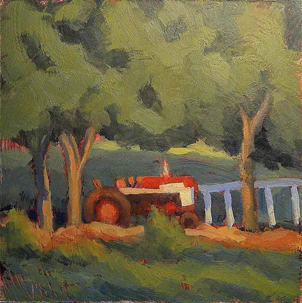 """Red Tractor Farmall Farm Painting Contemporary Oil"" original fine art by Heidi Malott"