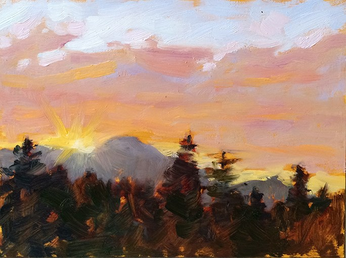 """Sunset over Mt. Tam"" original fine art by Deborah Newman"