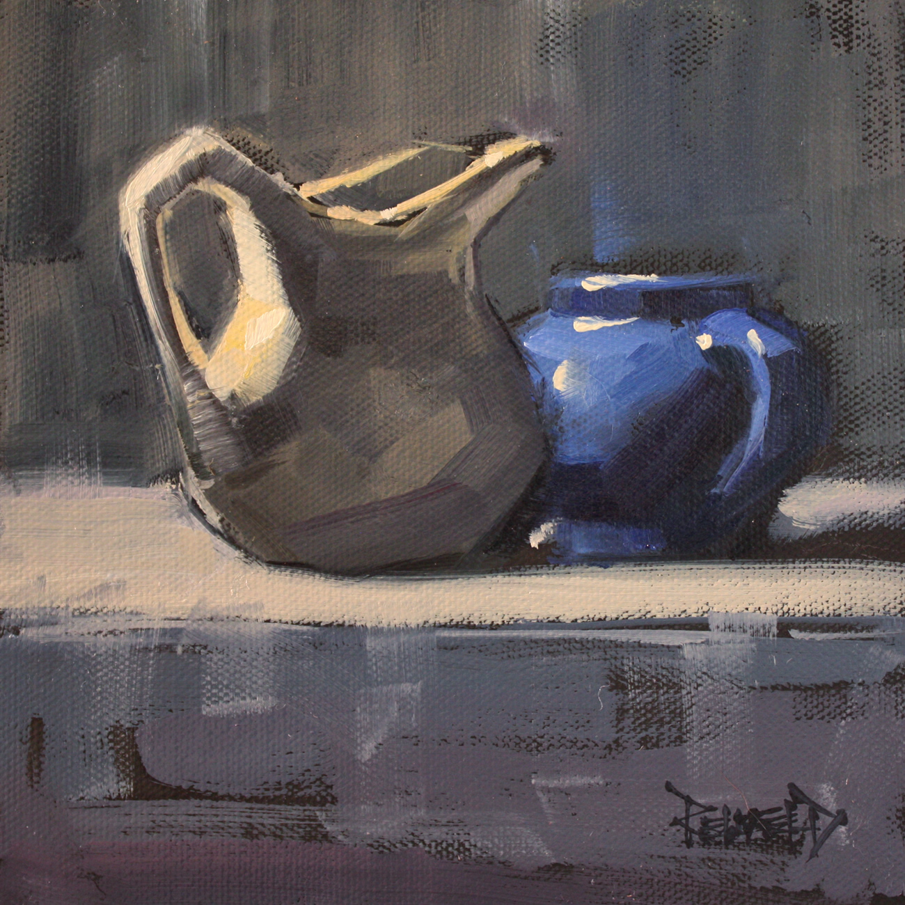 """Cozy With Blue"" original fine art by Cathleen Rehfeld"