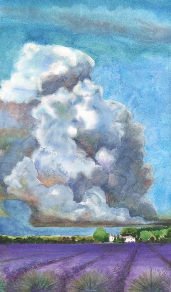 """Watercolor: Prescribed Burn, Provence (& 18 Habits of Creative Brains)"" original fine art by Belinda Del Pesco"