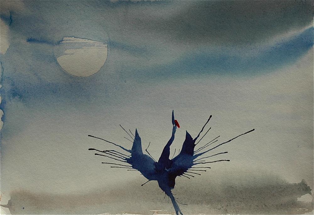 """Crane - 11"" original fine art by Ulrike Schmidt"