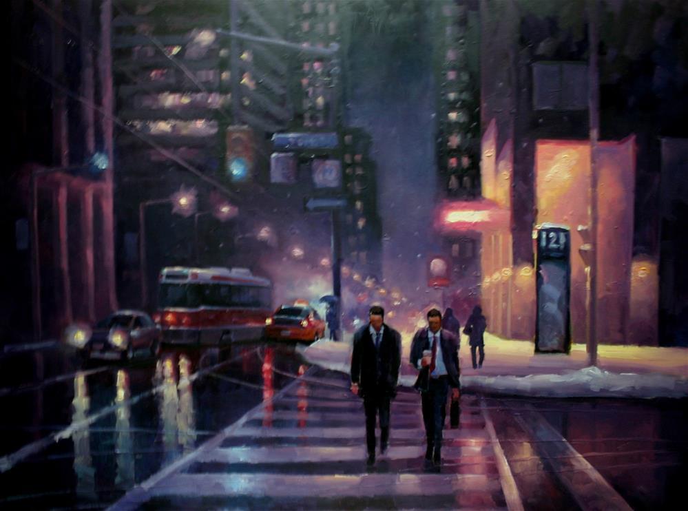 """First Snowfall, King Street West"" original fine art by Catherine Jeffrey"