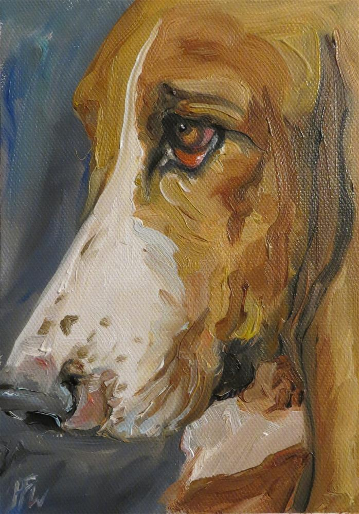 """Basset Stare"" original fine art by H.F. Wallen"