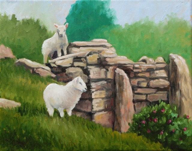 """""""Sheep on a rock wall"""" original fine art by Hilary J. England"""