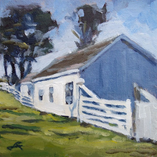 """Fence Barn"" original fine art by J. Farnsworth"