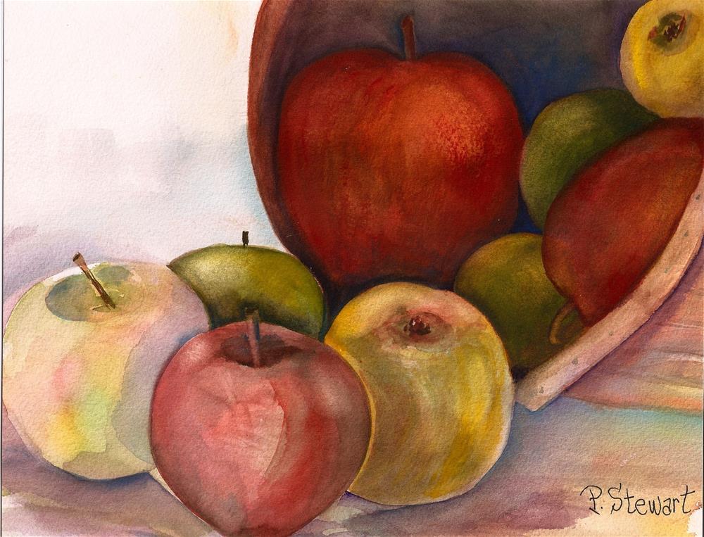 """8.5x11 Watercolor Apples Fall Basket Fruit Original SFA Penny Lee StewArt"" original fine art by Penny Lee StewArt"