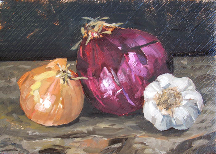 """Onion Family Portrait"" original fine art by Karen Boe"