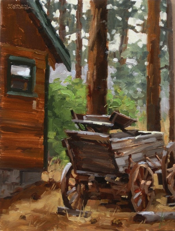 """Wagon"" original fine art by Karen Werner"