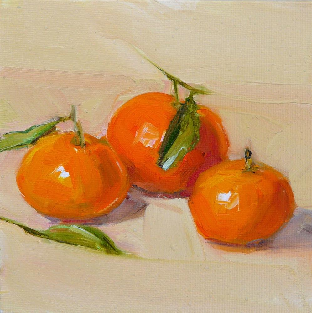 """3 Mandarine Oanges,still life,oil on canvas,6x6.price$150"" original fine art by Joy Olney"