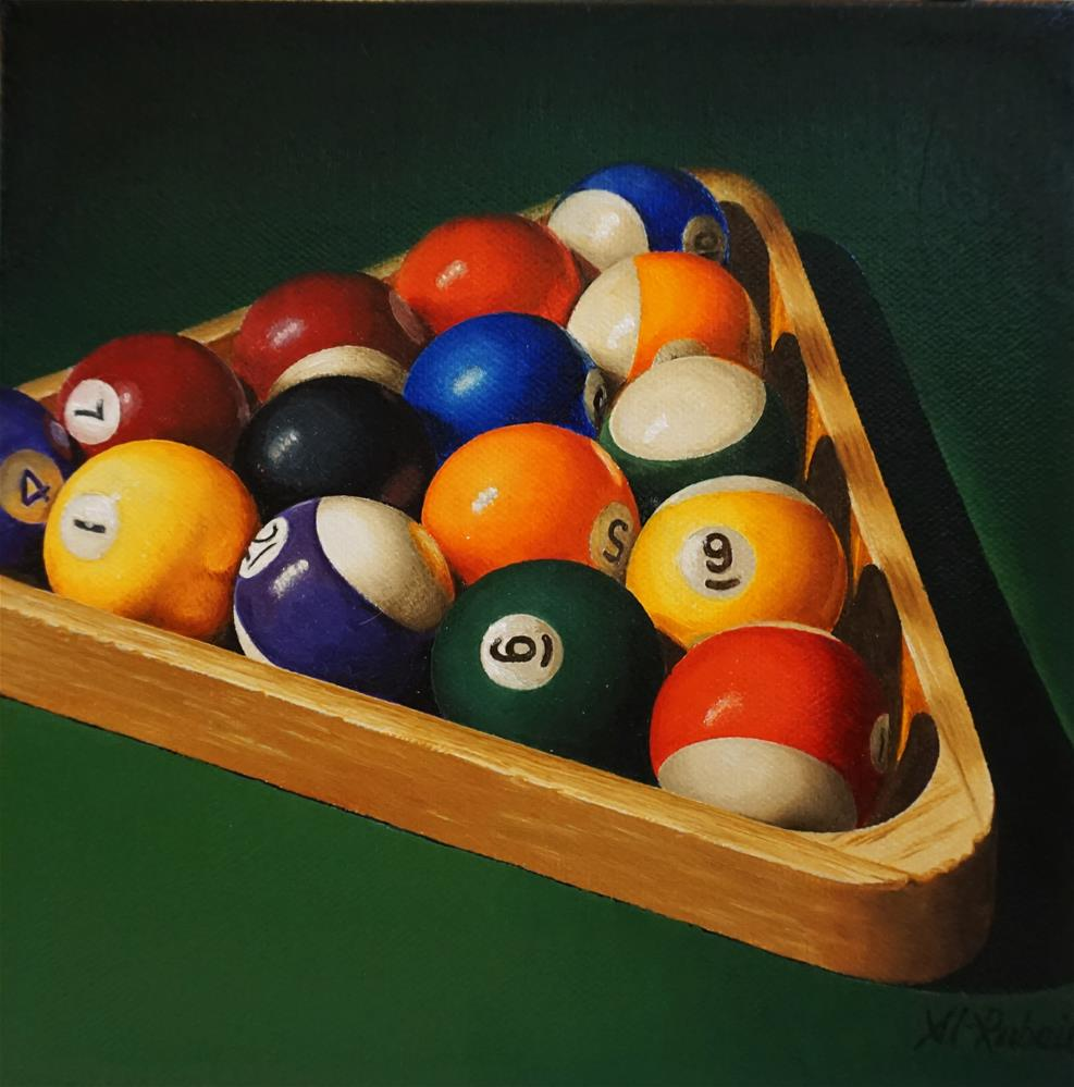 """Rack 'Em Up Still life with pool balls"" original fine art by Catherine Al-Rubaie"