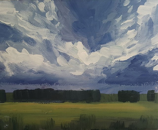 """Sweeping Clouds Study"" original fine art by J M Needham"