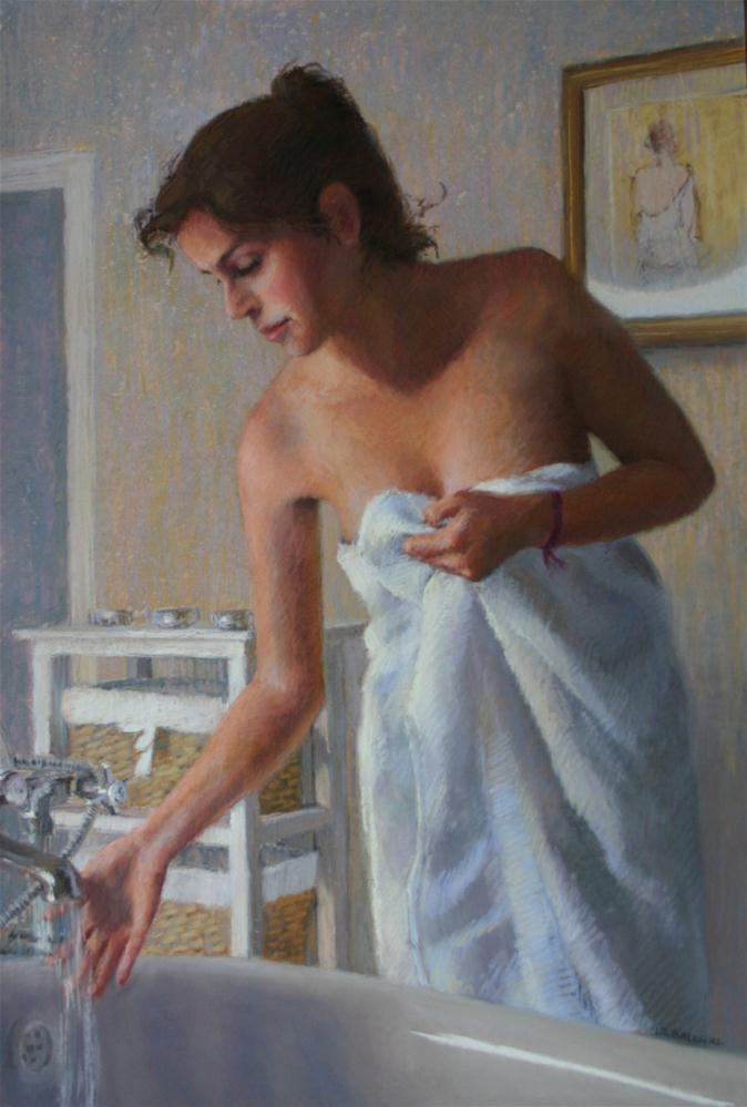 """Running the bath"" original fine art by Liz Balkwill"