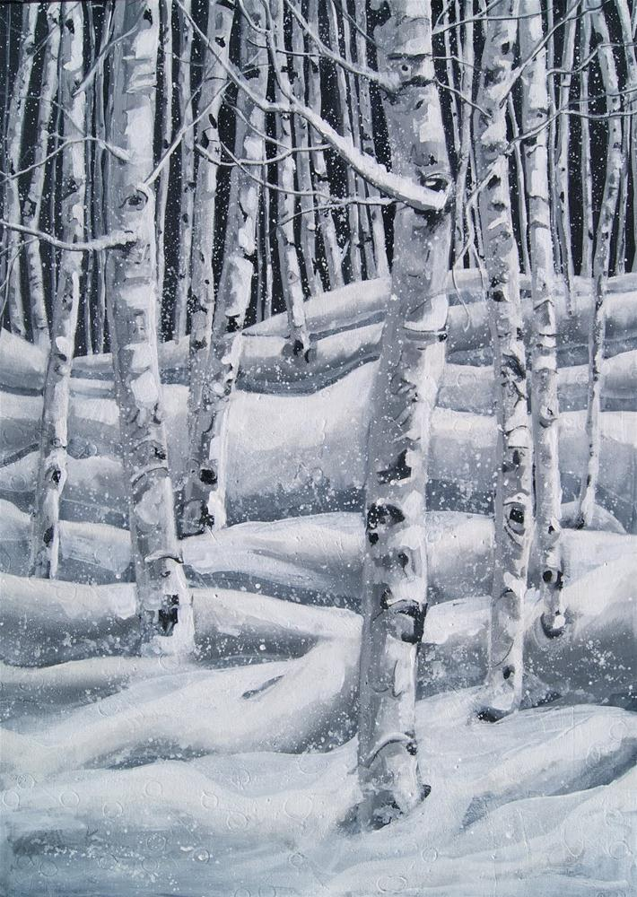 """Snowflakes in the Aspen Forest"" original fine art by Reveille Kennedy"