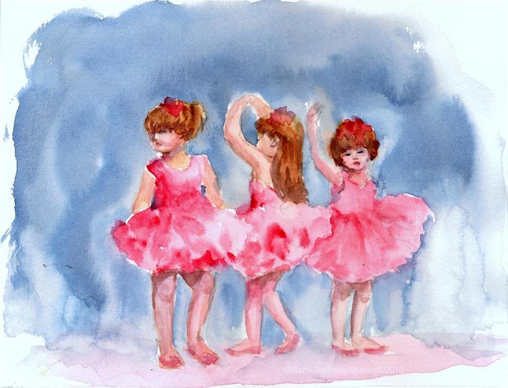"""""""Three little ballerinas"""" original fine art by Asha Shenoy S"""