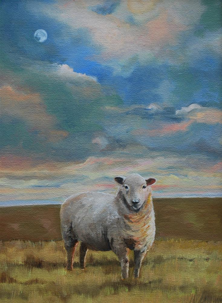 """Sheep at sunset"" original fine art by Beverley Phillips"