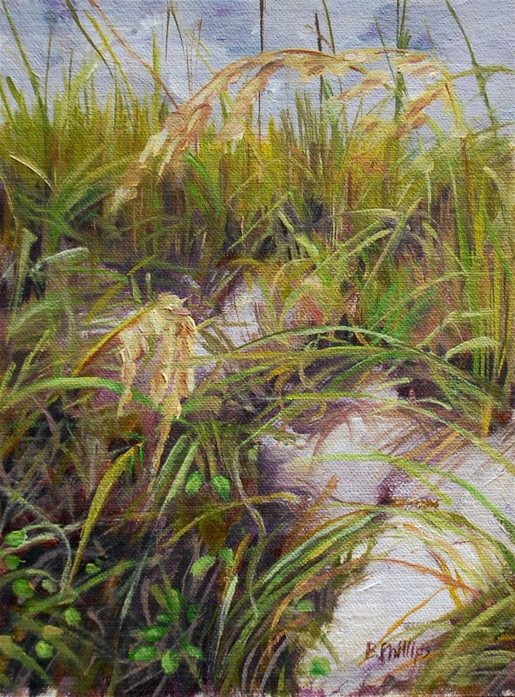 """Sand and sea oats"" original fine art by Beverley Phillips"